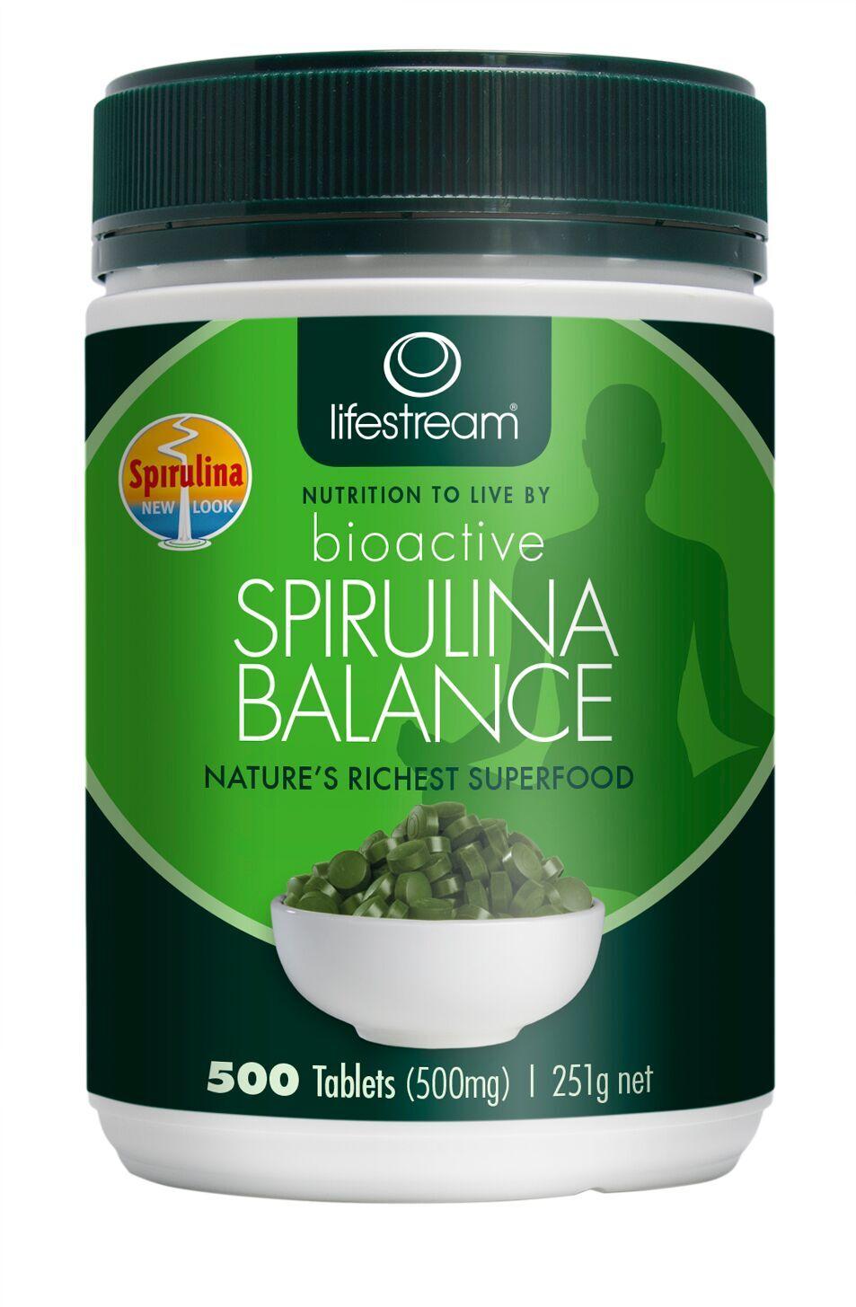 Image of Lifestream Bioactive Spirulina 500mg, 500 Tablets