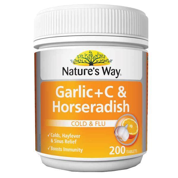 Image of Nature's Way Garlic, Horseradish + C 200tabs- Stop Winter Colds