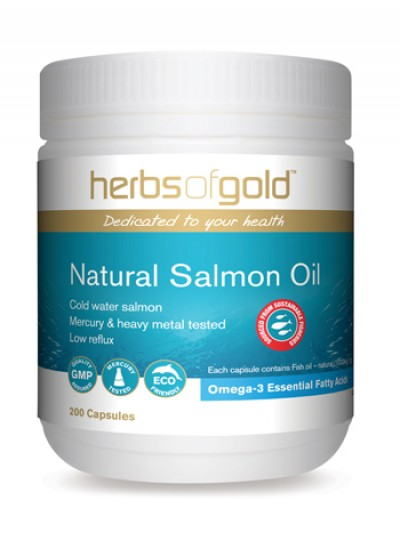 Image of Herbs of Gold Natural Salmon Fish Oil 1000mg -Low Reflux 200caps NEW-