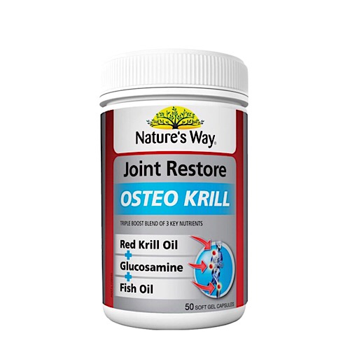 Nature 39 s way joint restore osteo krill 50caps with for Fish oil for joints