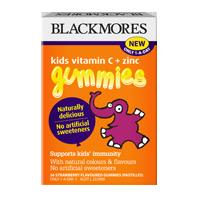 Blackmores kids vitamin c + zinc gummies 36 strawberry flavoured gummies