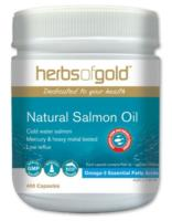 Herbs of Gold Natural Salmon Fish Oil 1000mg -Low Reflux 400caps NEW- 50%OFF