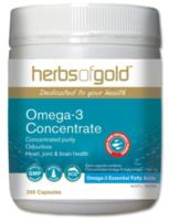 Herbs of Gold Omega-3 Concentrate Fish Oil 200caps - w/ EPA 300mg & DHA200mg/per cap- SAVE $40