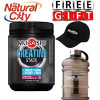 Musashi Bulk Creatine Stack 585g Rasbperry + Choose your freebie